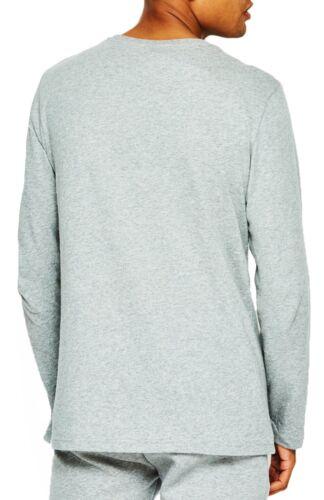 ellesse Grazie Logo Long Sleeve Henley T-Shirt Retro Sports Print Top Casual