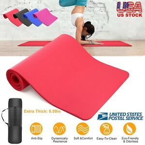 Thick-Yoga-Mat-Exercise-Mat-Workout-Fitness-Pilates-Non-Slip-w-Carrying-Bag-US