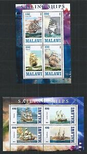 MALAWI-2013-SAILING-SHIPS-2X-MINI-SHEET-MNH