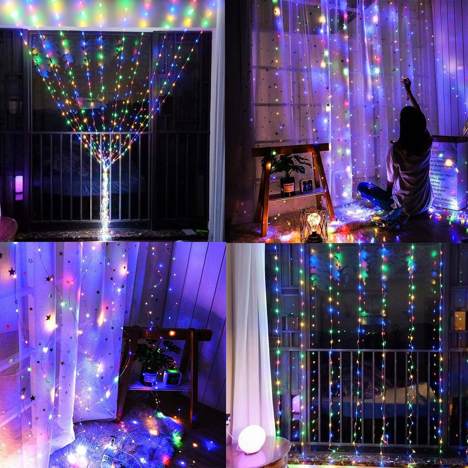 300 LED Curtain Fairy String Lights USB Home Window Bedroom