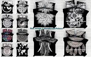 Noir-et-Blanc-Mandala-Indien-Literie-Hippie-Boheme-Housse-de-Couette-Couverture