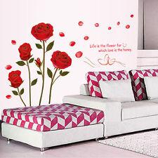 Red Rose Flower Wall Sticker Mural Decal Home Room Decor DIY Wall Sticker Hot