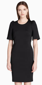Women-039-s-Calvin-Klein-Scuba-Short-Sleeve-Sheath-Dress-Black-Size-8