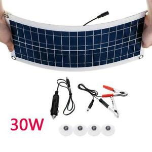 30W-12V-Dual-USB-Flexible-Solar-Panel-Battery-Charger-Kit-Car-Boat-no-Controller