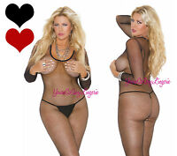 Plus Size Fishnet Bodystocking Long Sleeve Crotchess Round Scoop Neck Queen