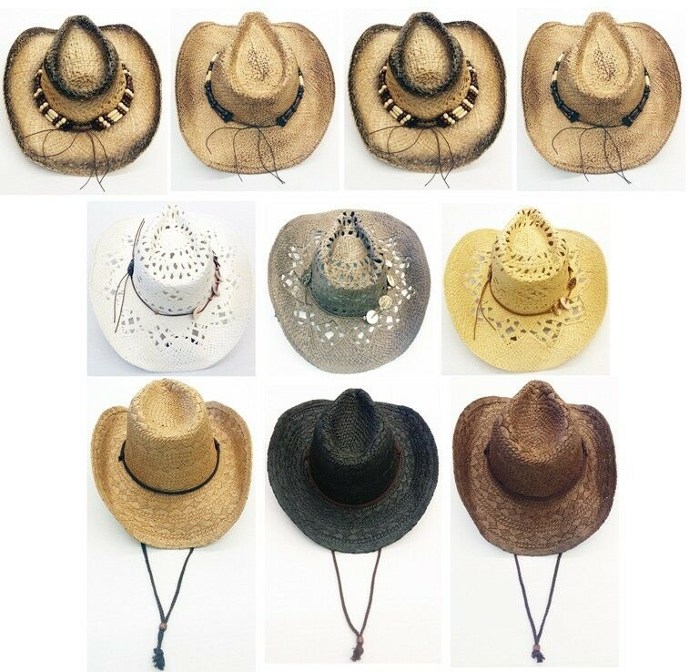 Wholesale Assorted Variety Cowboy Hats With Real Straw Western Style ... 24632dcc837f