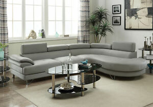 Image is loading Grey-Faux-Leather-Curved-Sectional-Sofa-Couch-Round- : sectional sofa with round chaise - Sectionals, Sofas & Couches