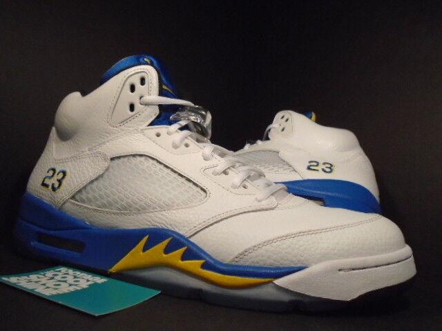 Nike air jordan v 5 retrò laney bucs bianco giallo nero blu reale 136027-189 12