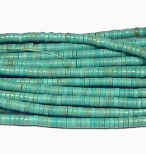 """4mm Heishi Chalk Turquoise Dyed Blue  Beads 15"""""""
