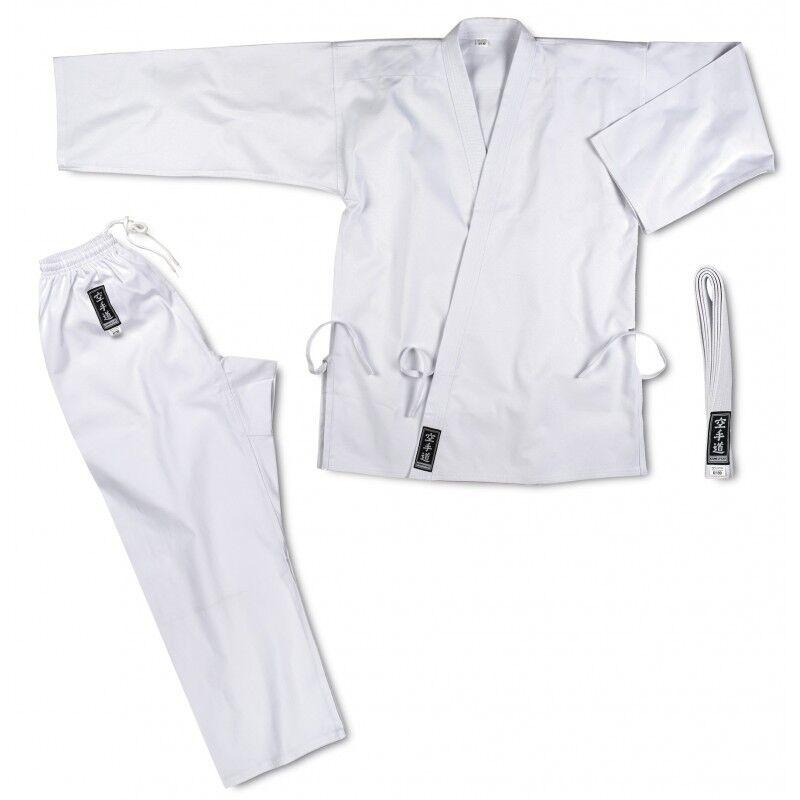 Karate-gi base cotone kimono bianco cintura 120 130 140 150 160 170 180 CORSPORT