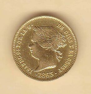 SPANISH Philippine ISABEL ll 2 pesos 1863 GOLD coins Very nice condition