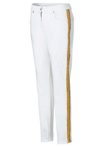 Bodyflirt Damen Hose Jeans Chino Stretch Pailletten gold weiss 919618