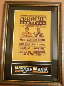 WWF-Wrestlemania-3-Framed-Memorabilia-Andre-The-Giant-V-Hulk-Hogan-Wrestling