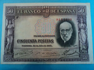 BILLETE 50 PESETAS === 1935 === ESPAÑA. SIN SERIE . EBC.