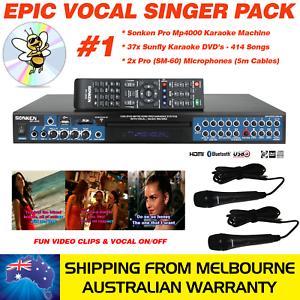 SONKEN-PRO-MP4000-KARAOKE-MACHINE-414-SUNFLY-SONGS-37-DVDS-2-WIRED-MICS