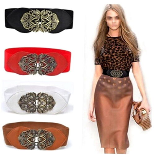 1 of 1 - Women Retro Adjustable Flower Elastic Stretch Buckle Wide Waistband Belt UU