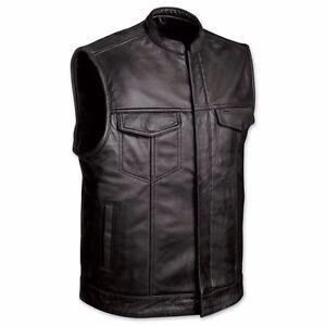 Men's Soa  Soft Leather Motorcycle Biker Vest (concealed carry for firearms)