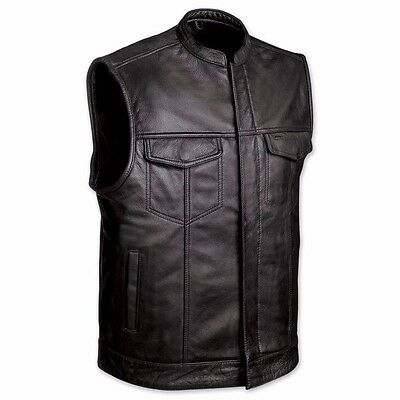 Men/'s Soft  Leather Motorcycle Biker Vest concealed carry for firearms