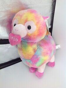 """Tie Dye XOXO Heart 16"""" Super Soft Plush Multicolored Llama Alpaca Plush"""