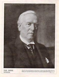 1914 Imprimé Première Guerre Mondiale ~ Mr. H.h.asquith ~ The Prime Minister O9gxnwxi-08012349-496500377