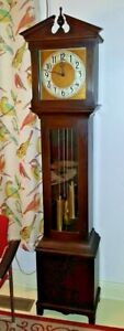 Antique-Art-Deco-Colonial-Winterhalder-Time-Strike-Grandfather-Clock-C1920-30