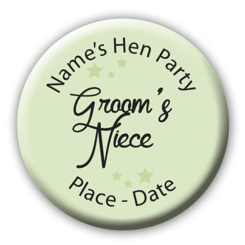 *5 for 4* Personalised Sage Green /& Black Script Hen Night Do Birthday Badge