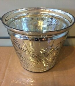 Pottery Barn Kingsley Etched Mercury Glass Cachepot Large