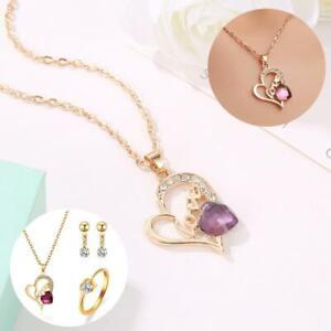 4Pcs-Set-Women-039-s-Wedding-Rhinestone-Ring-Earrings-Necklace-Bracelet-Jewelry-Set