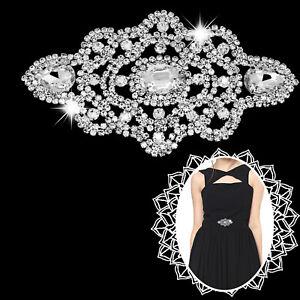 Diamante-Applique-Sew-On-Motif-Rhinestone-Crystal-Patch-Bridal-Dress-Decoration