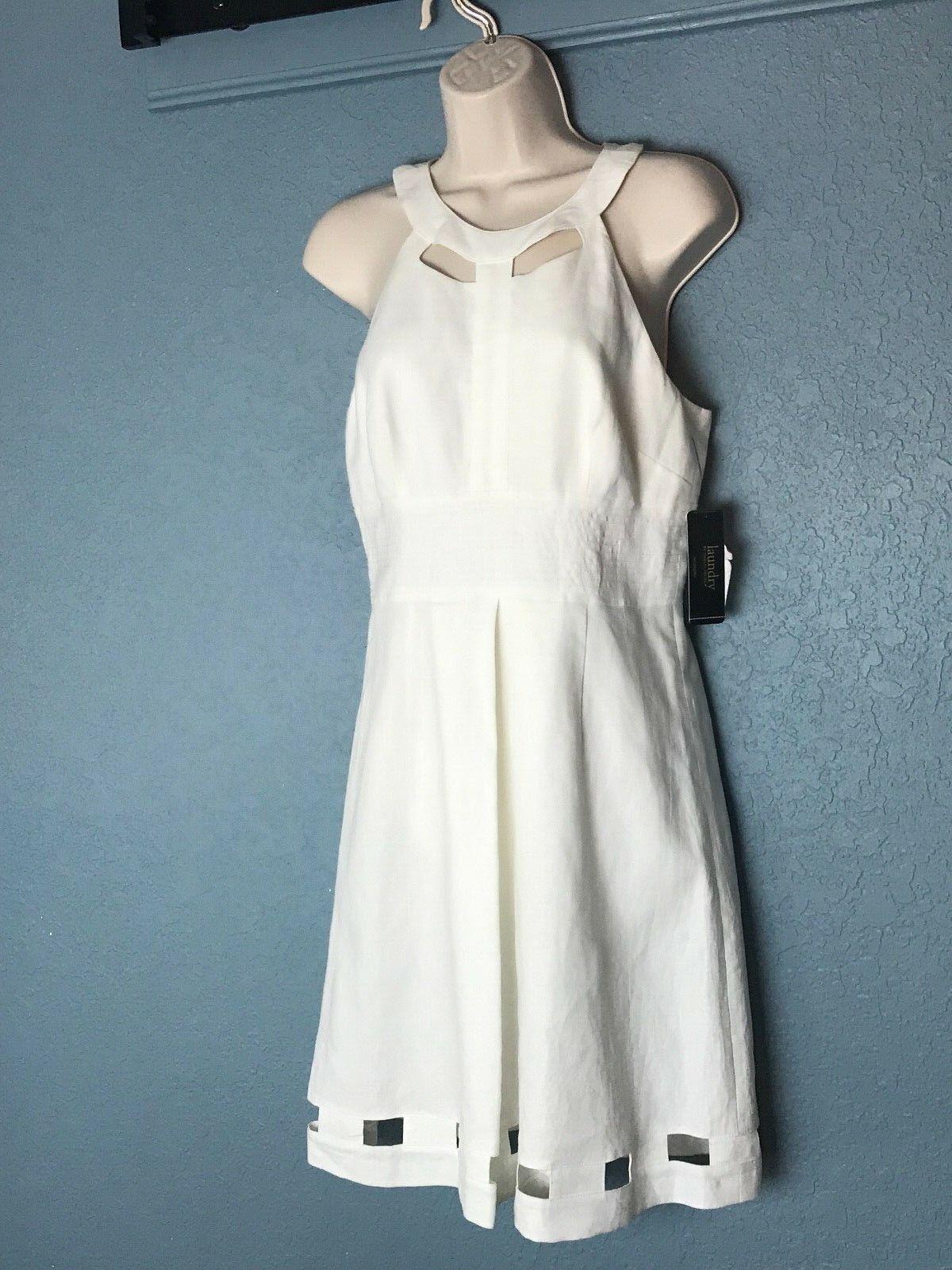 Laundry by Shelli Segal white sleeveless dress NWT size 4