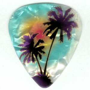 4-Pack-PALM-TREE-Guitar-Picks-Maui-Blue-BEACH-Hawaii-Ocean-Pearl-Medium-Gauge