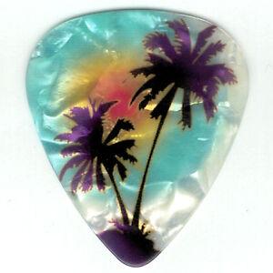 4-Pack-PALM-TREE-Guitar-Picks-Maui-Blue-BEACH-Hawaii-Ocean-Pearl-Medium-Pick
