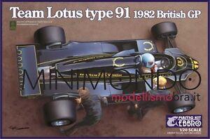 Kit de montage Lotus 91 F1 1982 Mansell De Angelis 1/20 Ebbro 012