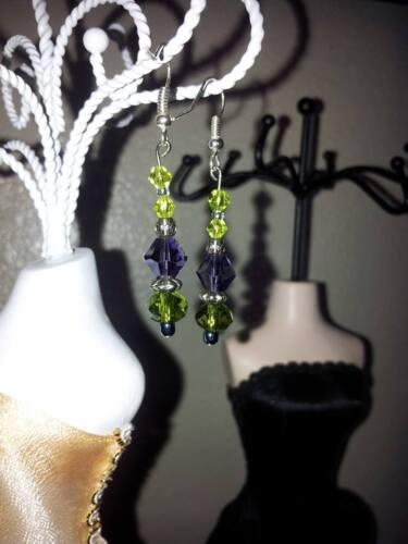 Custom Hand Made Jewelry Green and Purple Crystal Bicones