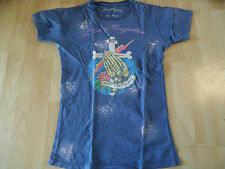 LOS ANGELES cooles Tattoo Shirt blau used Optik Gr. M TOP  VEY316