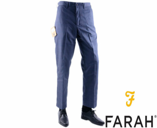 FARAH Mens Trousers Navy W32 34 36 38 40 42 44 Straight Flat Front