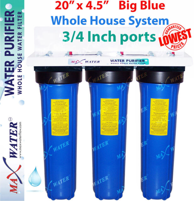 "Big Blue 20"" x 4.5"" whole house /well / water filter system pleated Iron GAC CTO"