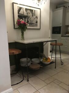 Details about Bespoke Hand Crafted Forged French Kitchen Marble Top Island  Wrought Iron Base