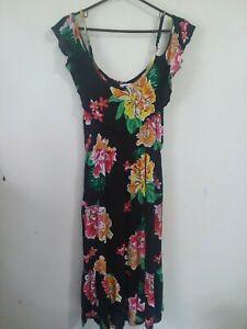 Old-Navy-Ruffled-Cold-Shoulder-Dress-in-Black-Floral-Midi-Length-Medium-Tall-MT