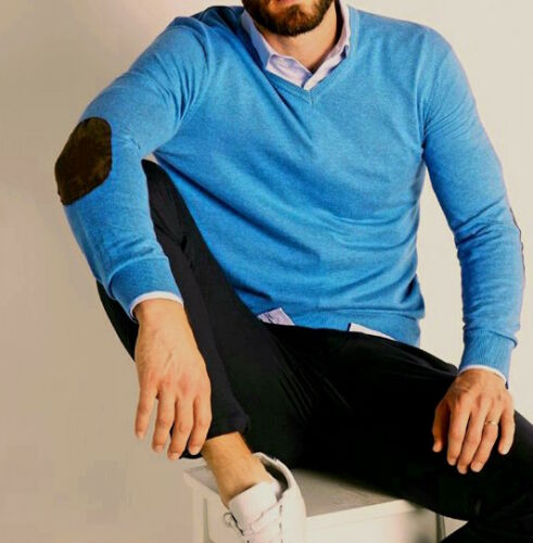 New Mens Sweater Jumper V Neck Soft Knit Pullover Elbow Patch S M L XL