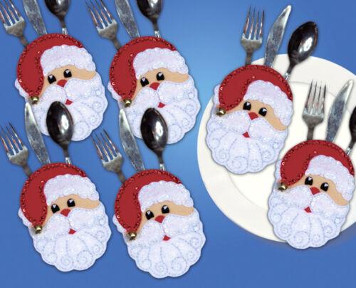 Felt Embroidery Kit ~ Set of 6 Santa Faces Silverware Pockets #DW5526 SALE!