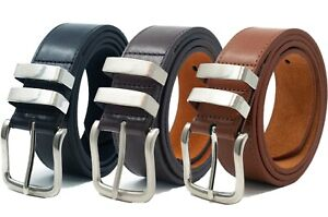 Mens-Ossi-Black-Brown-Tan-Leather-Lined-Jeans-Double-Loop-Belt-Sizes-32-60-034