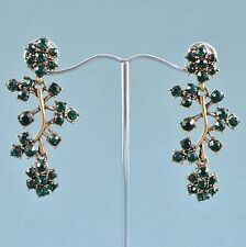 Vintage Style Earrings Green Crystal Goldtone Branch Drops Bridal Jewellery
