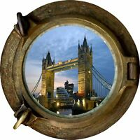 Huge 3D Porthole London Bridge View Wall Stickers Film Mural Decal 260