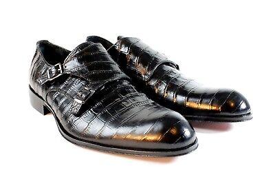 IVAN TROY Black Crocodile Handmade Double Monk Strap Italian Leather Dress Shoes