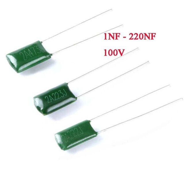 100PCS 100V 0.001uF 1nF 1000pF 2A102J ±5/% Mylar Film Capacitors Radial