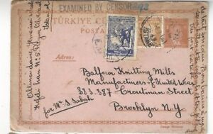 1941-Stambol-Turkey-Uprated-Postal-Card-WWII-Censored-to-Brooklyn-NY