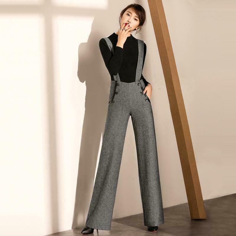 Women's Plaids Empire Line Suspender Wide Leg Pants Long Straight Trouser Zsell