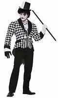 Adult Harlequin Black & White Tail Coat Ringmaster Costume Size Standard