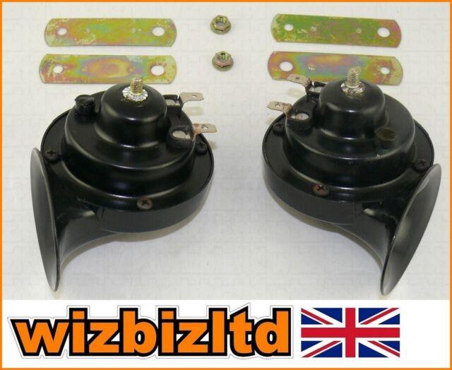 HORTBLK BLACK NEW DUAL AIR HORN 12V 130 dB Automotive Motorbikes ...